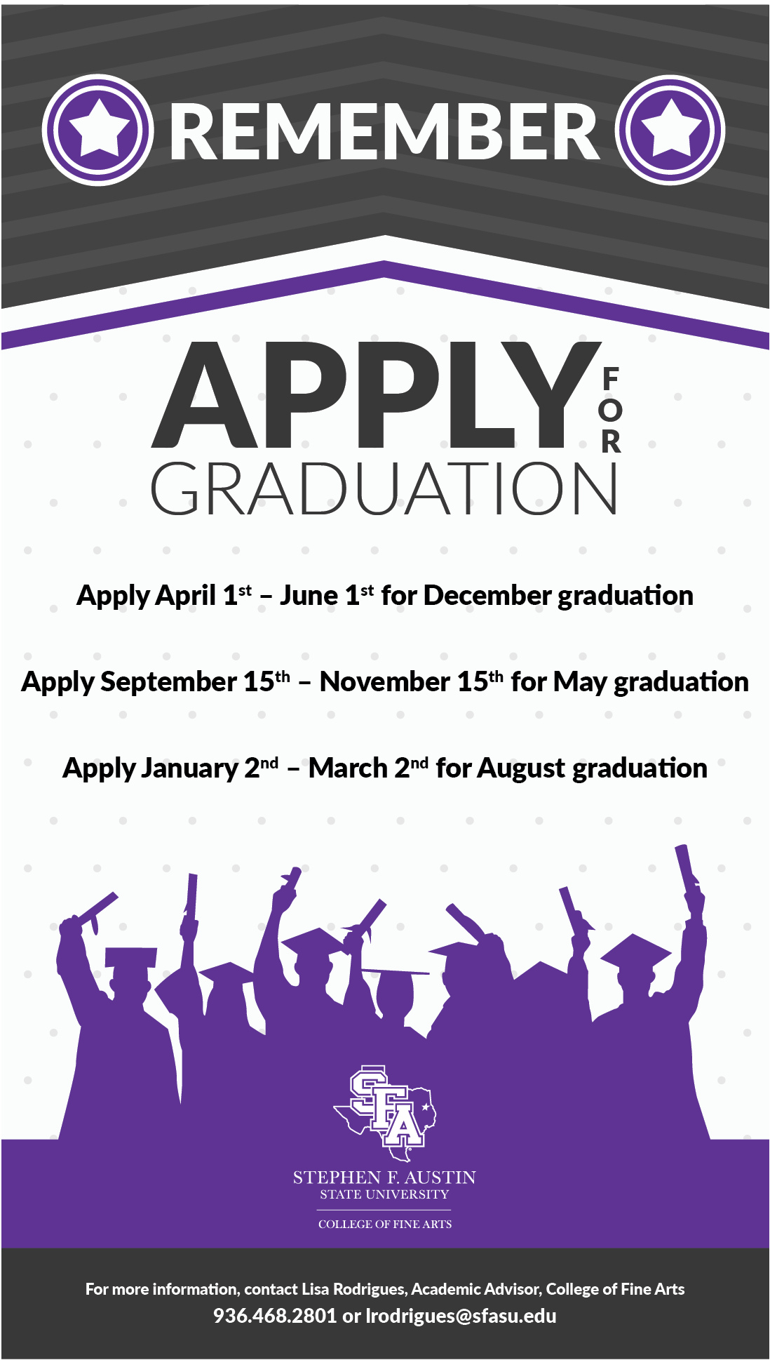 apply for graduation reminder