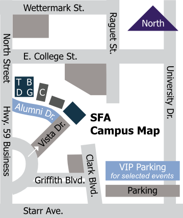 parking map for College of Fine Arts events
