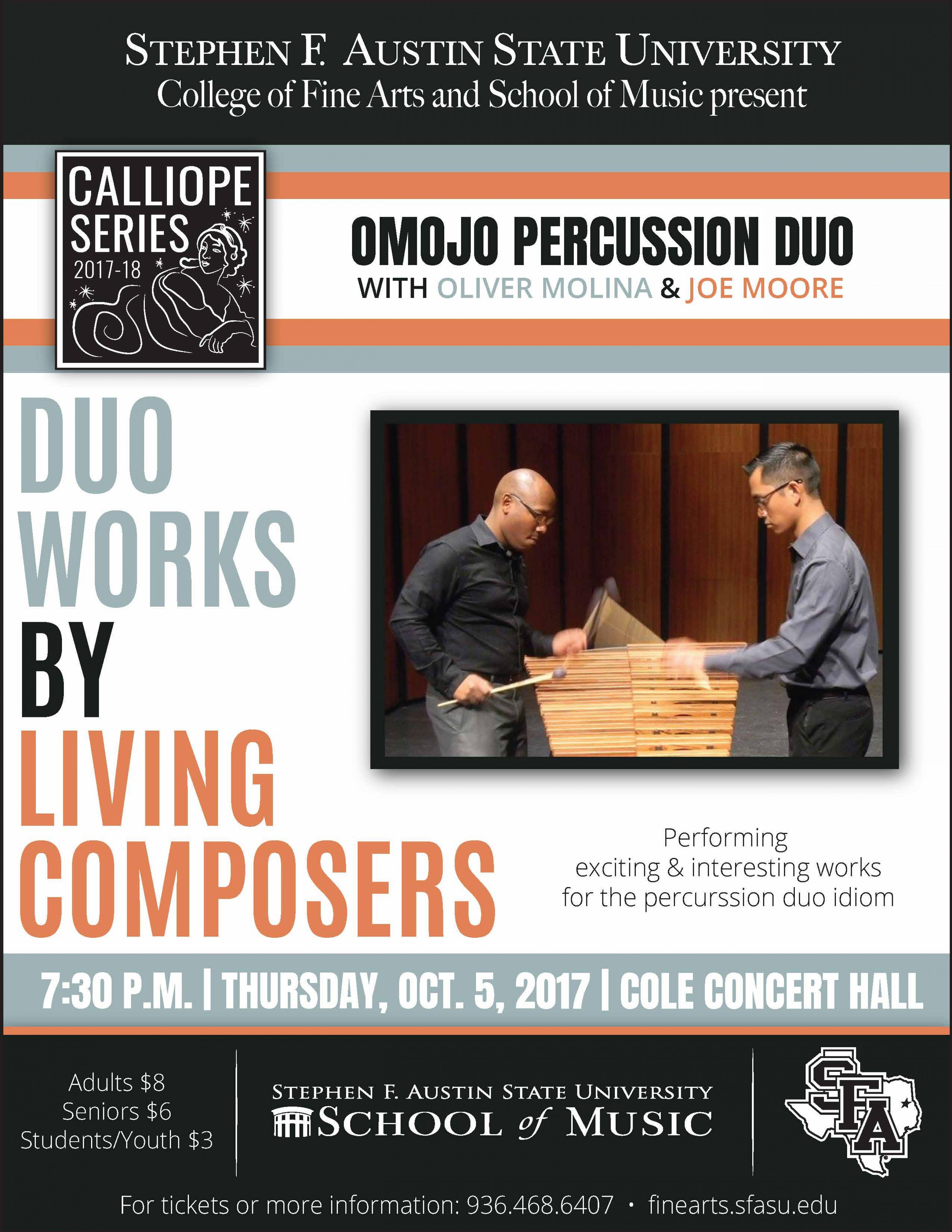 publicity image for Omojo Percussion Duo