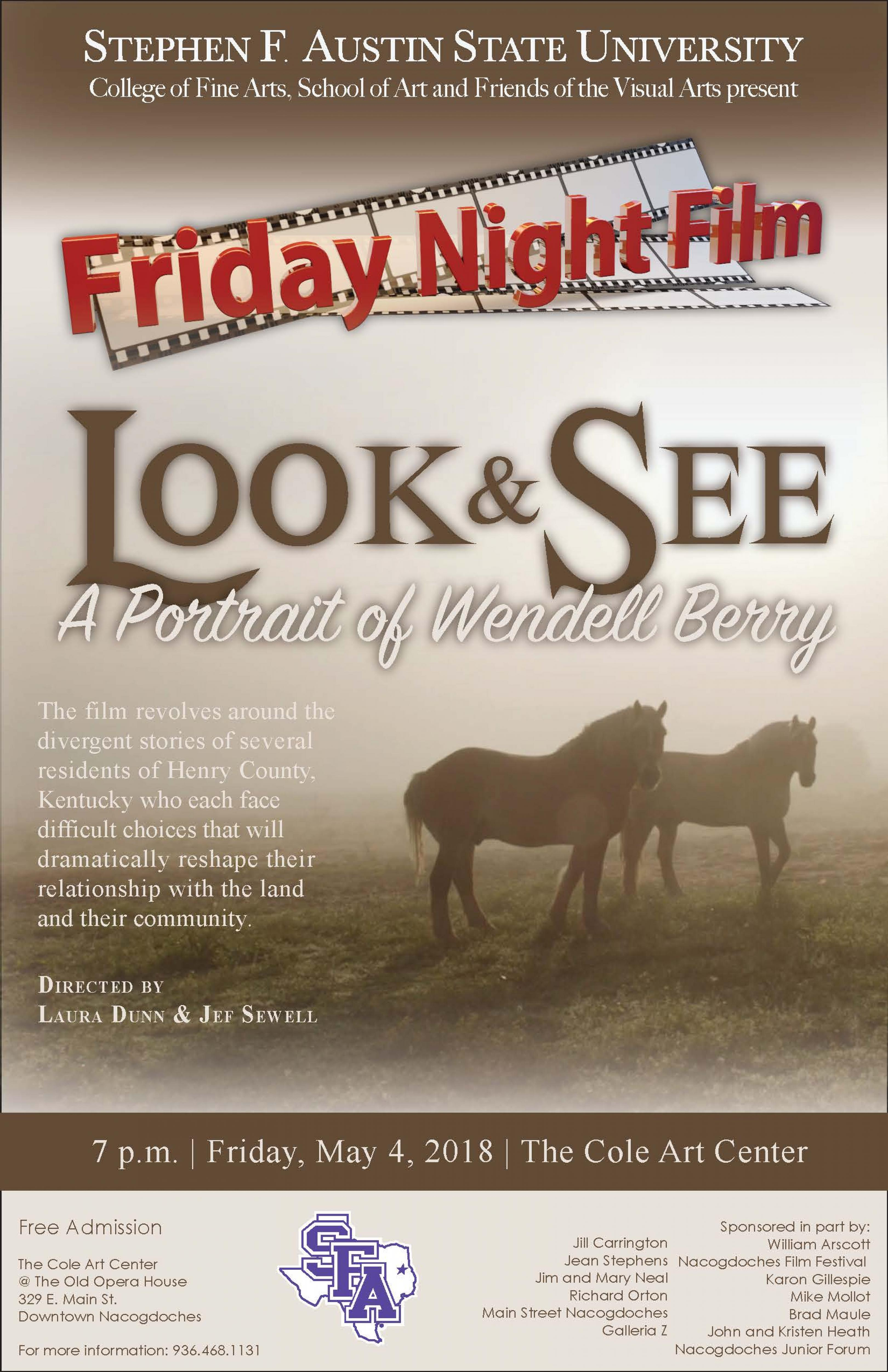 publicity image for Friday Film Series - Look & See: A Portrait of Wendell Berry