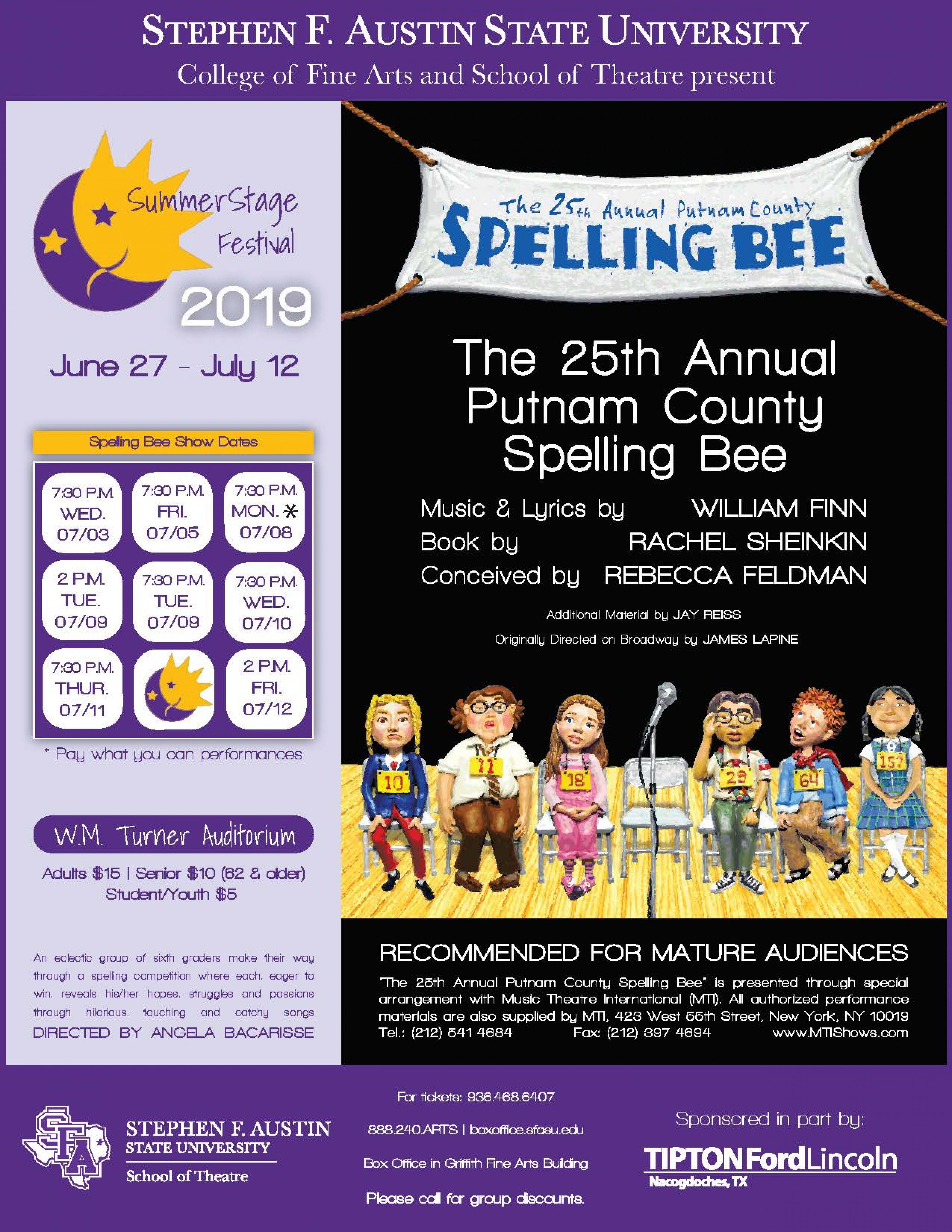 publicity image for The 25th Annual Putnam County Spelling Bee