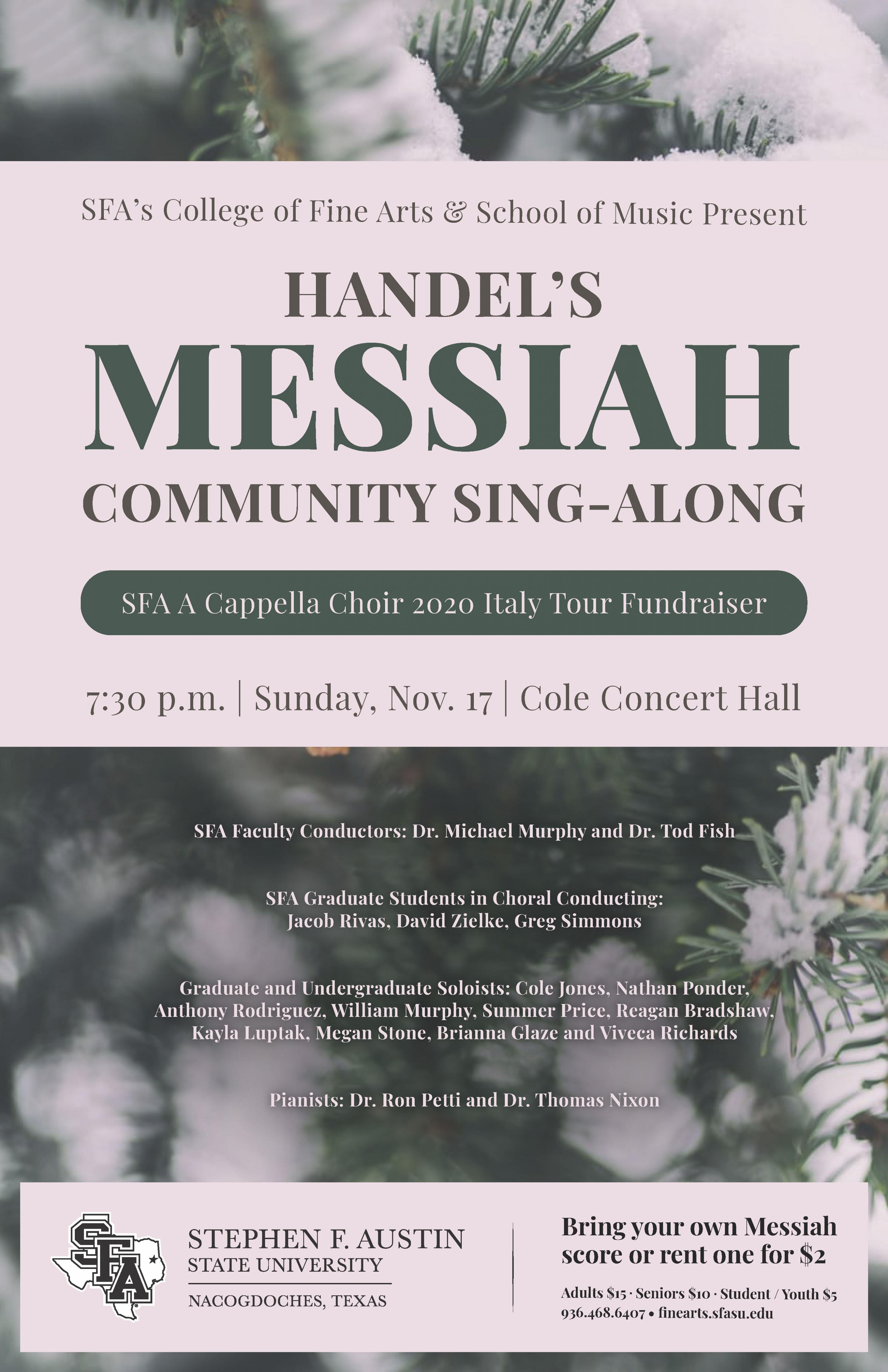 publicity image for Messiah Sing-Along Fundraiser